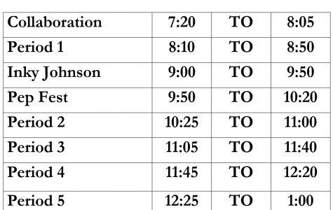 Tuesday, December 6th GOFA Pep Fest Schedule