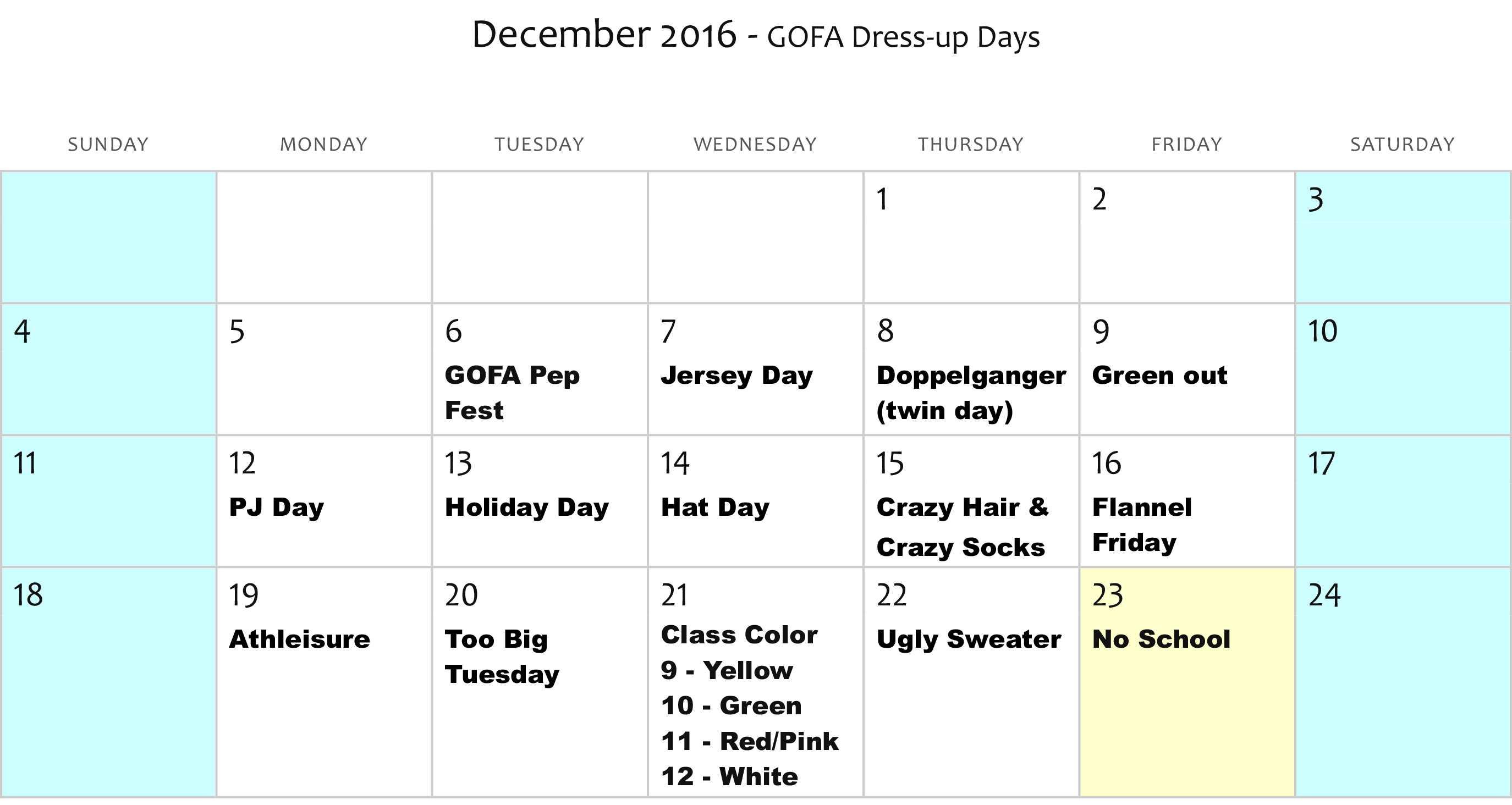 GOFA Dress Up Days